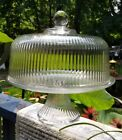 Anchor Hocking Clear Glass Ribbed Pedestal Cake Stand With Domed Lid EUC