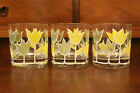 Vintage Culver Yellow and Green Mid Century Modern Double Old Fashioned Glasses