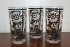 Set of 3 Vintage Collectible High Ball Fred Press Gold Black Glass Tumblers!