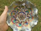 Fenton Carnival Glass 9 Blue Cobalt Holly Bowl Art Glass