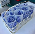 's Vintage FROSTED BLUE WILLOW Drinking Glasses With Caddy