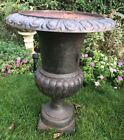 HTF Antique X- LARGE Old Vintage Cast Iron Planter Urn Garden Patio