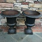 HTF Antique Old Vintage Pair Of Cast Iron Planters Urns Urn Garden
