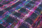 Woven Sari 100% Silk Fabric Multi color with pink/black 3 yds sewing projects