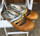 EL NATURALISTA Brown Leather Yellow Accent Open Back Clogs Womens sz EU 40