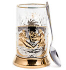 Gold Plated Glass Holder w Crystal Glass  Spoon Hunters at Rest Theme