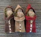 Primitive Christmas Belsnickle Santa Claus Ornies set of 3 , Handmade