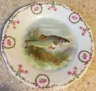 Antique Fish Plate With Roses On Edge Makers Name Faded 7 7/8