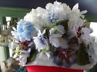 Vintage flower Easter hat church wedding small floral summer spring baby blue S