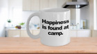 Happiness at Camp Coffee Mug Funny Gift for Camper Summer Deer Counselor Directo