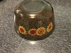 Anchor Hocking 1.5 Quart Amber Glass Mixing Bowl With Sunflower Design