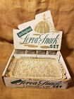 1950s ANCHOR GLASS SERVA SNACK SET of 4 RETRO BUBBLE PATTERN WITH ORIGINAL BOX