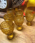 Vintage Set of Six Amber Hobnail Glass Footed Shot Glasses - WOW!