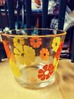 VINTAGE COLONY MOON FLOWER GLASS ICE BUCKET ORANGE AND YELLOW MOD FLOWER PATTERN