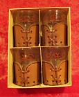 Rare Vintage Set of 4 BAMCO Libbey Western Ranch Branding Iron SHOT GLASSES!