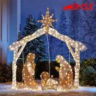 Nativity Scene Set Christmas Outdoor Pre lit w 250 Clear Lights Yard Decor 72 in