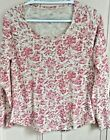 J Jill Tee Shirt Petite S Red Floral Long Sleeve Womens Stamped Print Cotton