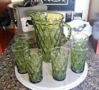 Vintage BEVERAGE SET Diamond Quilted Avocado Green Glass 6 Tumblers and Pitcher