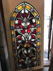 Sg2658 6avail Sold each painted in fired arch top Gothic stained glass window