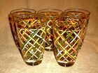 5 LIBBEY 10oz MULTI COLORED DRINKING GLASSES