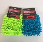 Microfiber Car Wash Cleaning Mitt Glove Blue Lime Green
