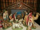 VINTAGE NATIVITY SET 20 PIECE CHALK WARE Stable 17 1 2 in Tall By 25 Wide