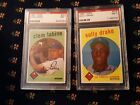 1959 Topps Lot of (2) #403 Clem Labine PSA 7 NM and #406 Solly Drake PSA 7 NM