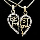 BFF Gold Tone Best Friend Heart Outlined Austrian Crystal Pendants Necklaces S65