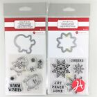 Hampton Art Lot Of 2 Clear Stamp Die Sets Christmas Penguin  Snowflake Winter