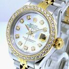 ROLEX DATEJUST 18K YELLOW GOLD STEEL WHITE MOTHER OF PEARL DIAMOND DIAL BEZEL