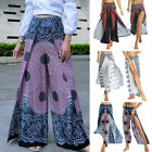 Women's High Waisted Yoga Harem Pants Thai Boho Palazzo Slit Beach Trousers G12