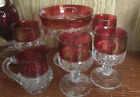 Vintage Kings Crown Ruby Red Flashed Candy Dish, Small Creamer and 4 OJ Glasses