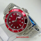 40mm bliger red sterile dial date window sapphire glass automatic mens watch 174