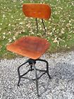 Vtg TOLEDO Industrial Drafting Wood / Metal Stool - Adjusts 18