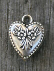 VINTAGE STERLING SMALL PUFFY HEART CHARM Flowers  Leaves with Beaded Border