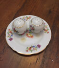 Stafford Bone China Salt  Pepper Shakers with Saucer Made in England