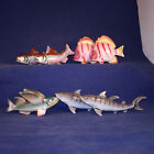 Lot of 7 Figural Fish Shakers Tropical Tiger Sharks Flying Fish Brook Trout