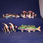 Lot of 8 Figural Fish Shakers Pink Tropical Black Bass Yellow Tropical Bass