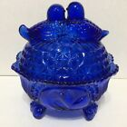 Vintage Cobalt Blue Love Birds 3 Footed  Covered Candy Dish