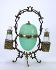 Antique Opaline Glass Enamel Egg Casket Jewelry Box Scent Perfume Holder Stand