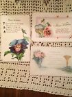 3 Antique Best Wishes + Postcards Lot Early 1900s Birds Flowers Vintage