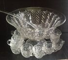 Vintage Jeannette Glass Feather Pattern Footed Punch Bowl Set 15 Pc  Mid Century