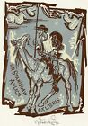 Cervantes Don Quixote Ex libris Bookplate by Jaroslav Vodrazka