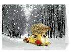 18 Christmas Holiday Cards Env Car w Tree in Snow One Jade Lane EIGHTEEN Heavy