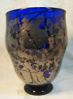 COBALT BLUE GLASS VASE WITH GOLD OVERLAY Signed Hand Crafted