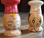 Vintage 1960s Wooden Mr and Mrs Chef Salt  Pepper Shakers