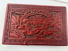 ANTIQUE CHINESE CINNABAR CARVED RED LACQUER BOX