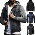 Mens Vintage Denim Jacket Slim Fit Hoodies Jean Hooded Sweatshirts Coat Outwear