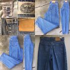 Vintage Levis High Waist Tapered Leg Jeans Gray Tab Leather Label 27 Waist