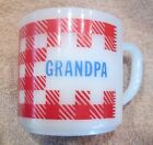 Westfield Red Checkered Mug GRANDPA Milk White Fire King Heat Proof USA Vintage!